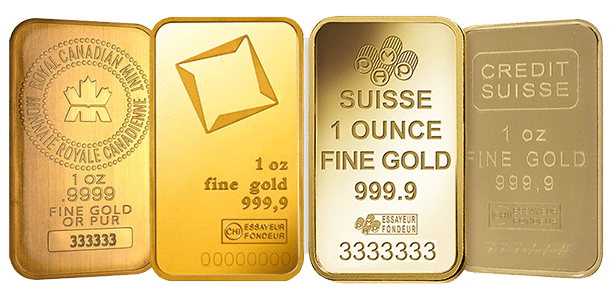 Various gold bars eligible for investment in a Gold IRA