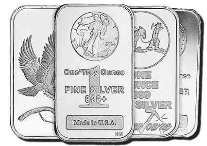 Various silver bars that are eligible for investments with self-directed IRAs
