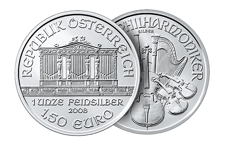 A picture showing both sides of a 1 oz Austrian Philharmonic silver coin, which is eligible Self-Directed IRA precious metals investments