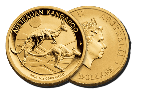A picture showing both sides of a Australian Kangaroo gold coin, which is eligible Self-Directed IRA precious metals investments