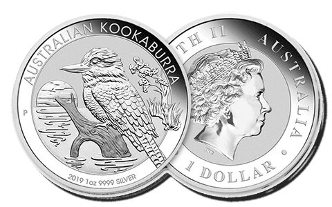 A picture showing both sides of a 1 oz Australian Kookaburra silver coin, one of the silver products eligible Self-Directed IRA precious metals investments