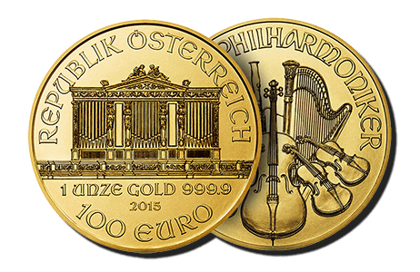 A picture showing both sides of a 1 oz Austrian Philharmonic gold coin, one of the gold products eligible Self-Directed IRA precious metals investments