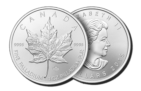 A picture showing both sides of a 1 oz palladium Canadian Maple Leaf coin, one of the palladium products eligible Self-Directed IRA precious metals investments