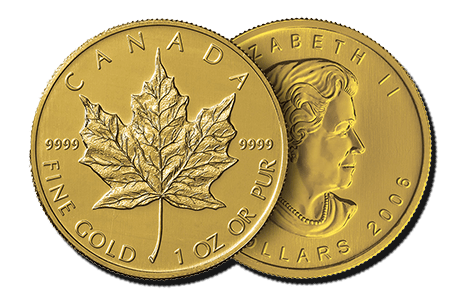 Depicted here is the front and back of a 1 oz Canadian Maple Leaf gold coin, which is eligible for precious metals IRA investments