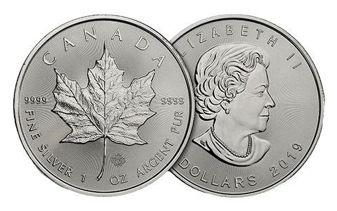 A picture showing both sides of a 1 oz Canadian Maple Leaf silver coin, one of the silver products eligible Self-Directed IRA precious metals investments