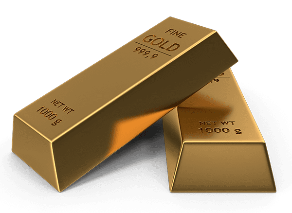 Two gold bars stacked, a great way to protect your wealth against market recession or the dollar collapse